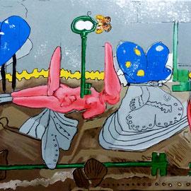 """""""Grand écart de la vertu"""" - Acrylique sur toile -"""