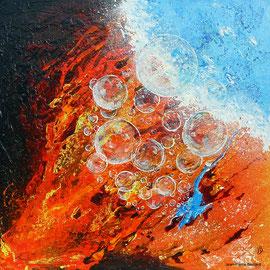 """Eléments 2"" - Mixed Média 70x70, résine- Ciel, terre, eau, feu"