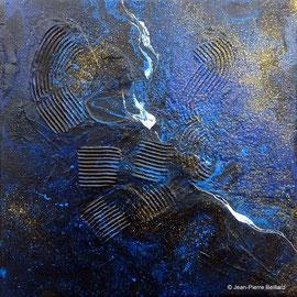 """""""Dark 000"""" - Acrylique Pouring + Glaçage Carré 20x20 sur Toile. Récréation coulante et brillante sur petit format."""