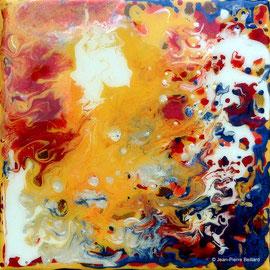 """""""Sans titre 03"""" - Acrylique Pouring + Glaçage Carré 20x20 sur Toile. Récréation coulante et brillante sur petit format."""