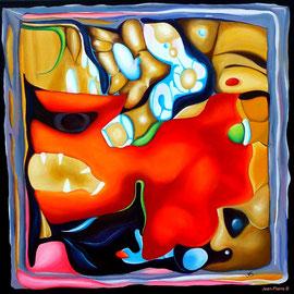"""""""Cerebration"""" - """"Grrrr"""" - Acrylique 50x50. Représentation figurative du cerveau de l'artiste! Ce qui est probablement vrai! Le titre «Grrrr» y est associé mais cela aurait pu être plein d'autres choses"""