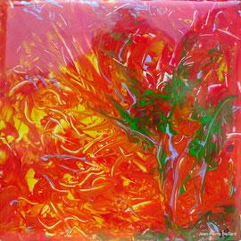 """""""Sans titre 04"""" - Acrylique Pouring + Glaçage Carré 20x20 sur Toile. Récréation coulante et brillante sur petit format."""