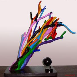 """""""Feu de Joie, Feu de Bois"""" Bois peint - Luminaire, lampe avec variateur de couleur - Bel effet coloré et dynamique"""