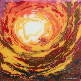 """""""Sans titre 02"""" - Acrylique Pouring + Glaçage Carré 20x20 sur Toile. Récréation coulante et brillante sur petit format."""
