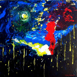 """""""Atem"""" - Acrylique 60x60 - Lire la Musique avec ses couleurs cela donne cette interprétation de ce superbe moment musical «Atem» de Tangerine Dream"""