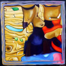 """""""Cerebration"""" - """"Pluto"""" - Acrylique 50x50. Représentation figurative du cerveau de l'artiste! Ce qui est probablement vrai! Le titre «Pluto» y est associé mais cela aurait pu être plein d'autres choses"""