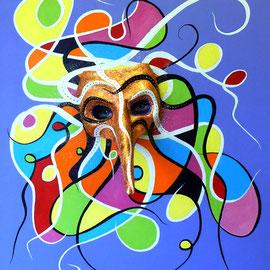 """""""Carnaval"""" - œuvre 3D Acrylique masque couvert feuilles d'or 61x38"""