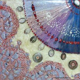"""""""Nacre 02"""" - Acrylique Pouring + Glaçage Carré 20x20 sur Toile. Récréation coulante et brillante sur petit format."""