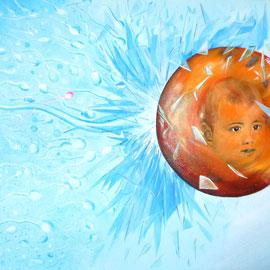 """""""In Vitro"""" Acrylique sur Toile 55x38 - """"In vitro"""" est l'une de trois peintures sur le thème de la procréation avec une touche d'érotisme contenu."""