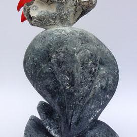 """ Coq'Art"" - Silex et faux silex - 40x26x20 cm"