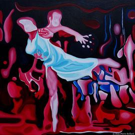 """""""Rumba 2"""" - Huile sur Toile 100x100cm. Grâce et Peinture, un moment artistique inspiré d'un magnifique moment de danse du couple Elena Khvorova et Slavik kryklyvyy"""
