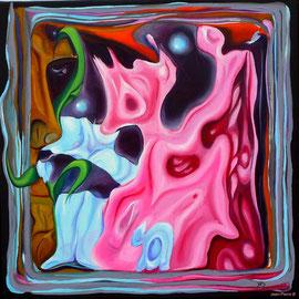 """""""Cerebration"""" - """"Bambi"""" - Acrylique 50x50. Représentation figurative du cerveau de l'artiste! Ce qui est probablement vrai! Le titre «Bambi» y est associé mais cela aurait pu être plein d'autres choses"""