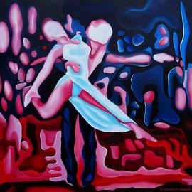 """""""Rumba 3""""- Huile sur Toile 100x100cm. Grâce et Peinture, un moment artistique inspiré d'un magnifique moment de danse du couple Elena Khvorova et Slavik kryklyvyy"""