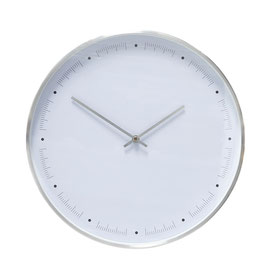 Clock Metal/White