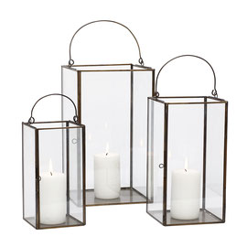 Glass lantern set of 3