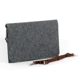 Tablet-/Dokumenten-Hülle dunkelgrau, Lederriemen dunkelbraun