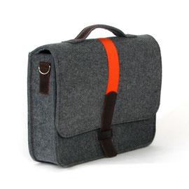Officebag dunkelgrau, Gurtband orange, Leder dunkelbraun