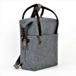 Laptop Backpack dkl.grau, Leder dkl.braun