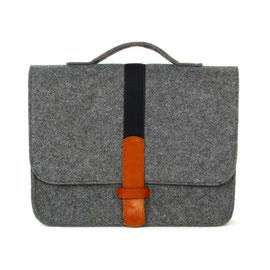 Office-Bag dunkelgrau, Gurtband dkl.blau, Leder mittelbraun