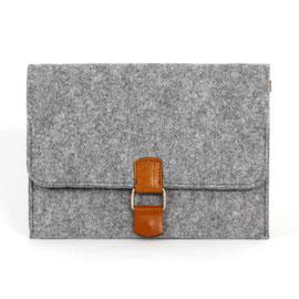 Tablet-/Dokumenten-Hülle, hellgrau, Leder hellbraun