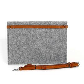 Tablet-/Dokumenten-Hülle hellgrau, Lederriemen hellbraun