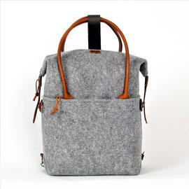 Laptop Backpack hellgrau, Leder hellbraun