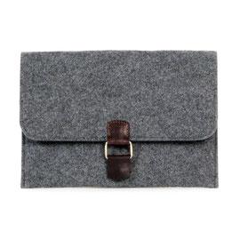 Tablet-/Dokumenten-Hülle dkl.grau, Leder dunkelbraun