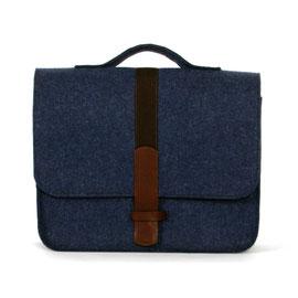 Officebag jeansblau, Gurtband dkl.blau, Leder dkl.braun
