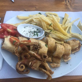 glutenfreie Kalamari, Restaurant 3 Pigs Greek Grill, Pefkos, Rhodos