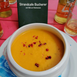 glutenfreie Kartoffel-Karotten-Suppe im Strandcafe Bucherer Walchensee