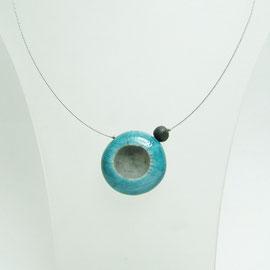 acheter ce collier ceramique raku bleu