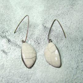 Boucles d'oreilles céramique raku craquelée