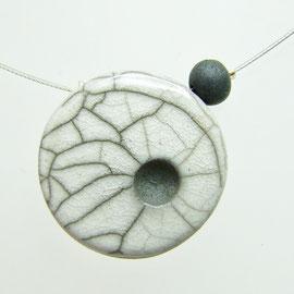 Collier céramique blanc en raku