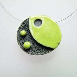 acheter collier ceramique raku vert noir