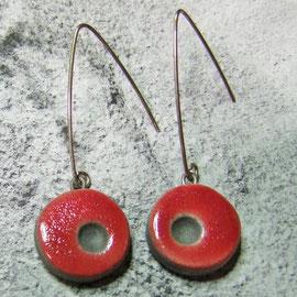 Boucles d'oreilles  uniques rouges