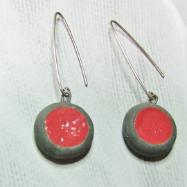 boucles d'oreilles rouges en raku