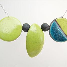 collier vert et bleu céramique raku