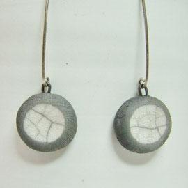Boucles d'oreilles pendantes céramique et argent