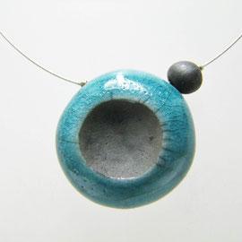 Fiche détaillée du collier Bleu céramique raku