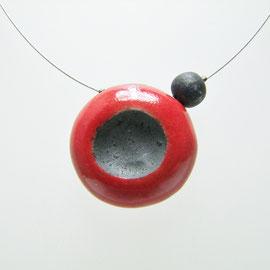 Collier céramique rouge et noir