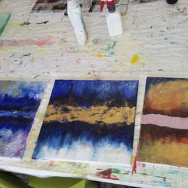 Acrylfarben und Blattgold