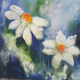 Blumen als Motiv mit Acrylfarben