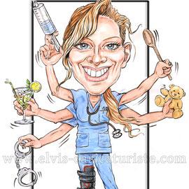 Caricature infirmière, anniversaire - Elvis caricaturiste