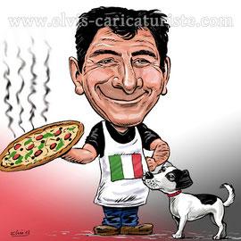 Caricature pizzaiolo - Elvis caricaturiste