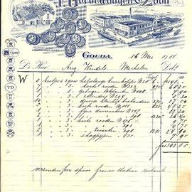 Rekening gedateerd 16 Mei 1911 voor een forse levering van diverse modellen pijpen