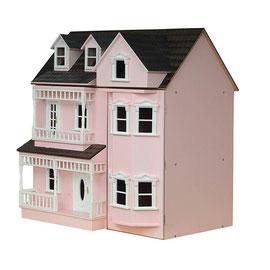 Maison de poupée en bois rose