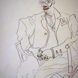 Bleistiftzeichnung - das Original wurde verkehrtherum liegend abgezeichnet