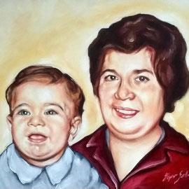 Ritratto di donna con bambina - Olio su tela 30X40