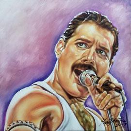Ritratto di Freddie Mercury - Olio su tela 50X50