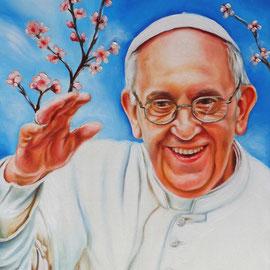 Papa Francesco in primavera - Olio su tela 40X50